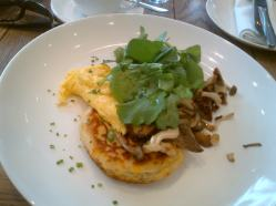 Dear me - Scramble egg with mushrooms and a corn fritter