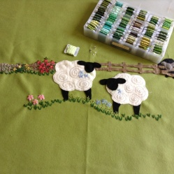 Hand embroided wool blanket