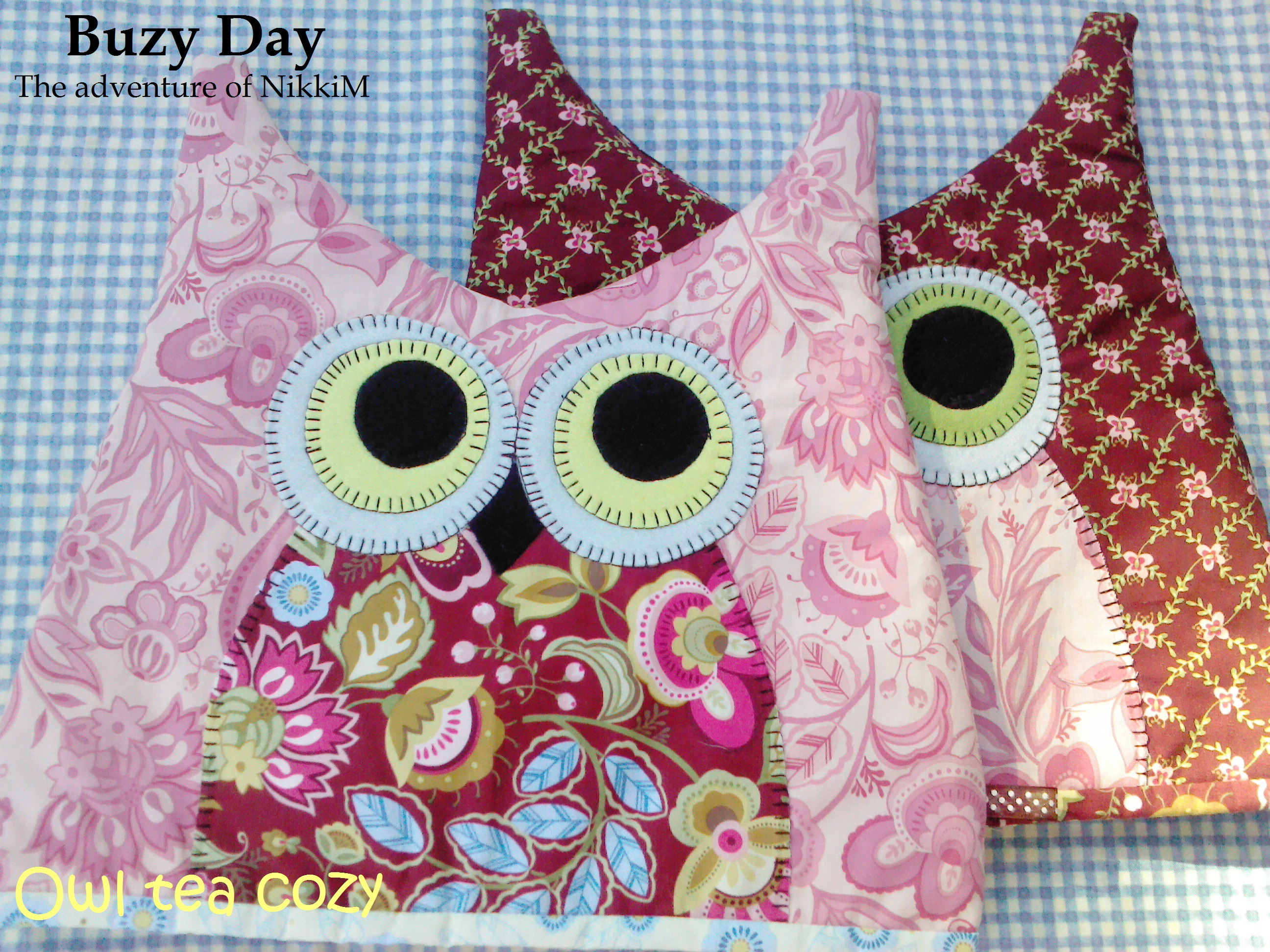 tea cosy template - owl tea cozy buzy day