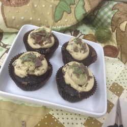 Chocolate Cupcakes with a Peppermint crisp frosting