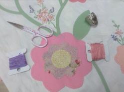 Friendship braid quilt - hand embodied flower sprigs
