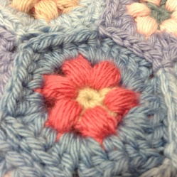 Crocheted hexagon, Daisy Puffagon - Cherry Hear