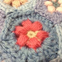 Crocheted hexagon, Daisy Puffagon - Cherry Hear