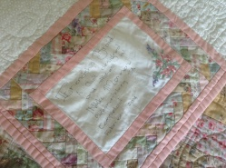 Friendship braid quilt, quilt label.