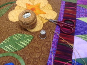 Hand quilting the centre block