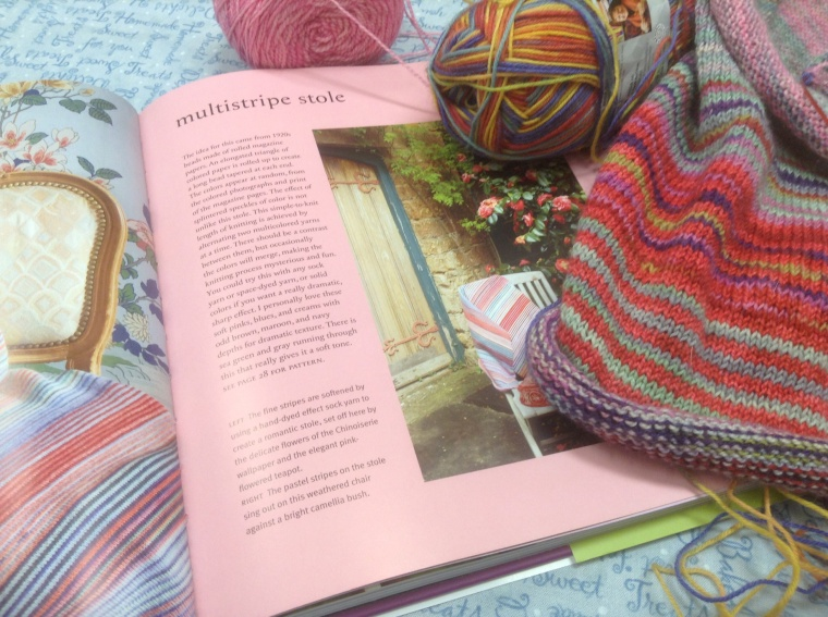 "Knitting out of the book ""Knitting with the Color Guys"" by Kaffe Fasset and Brandon Mably"