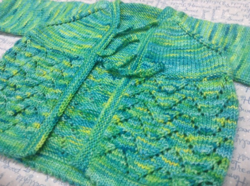Blocking a knitted cardigan knitted from a pattern from Knitty - Helena