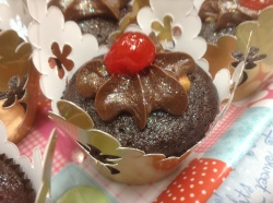 Chocolate cupcake filled with caramel