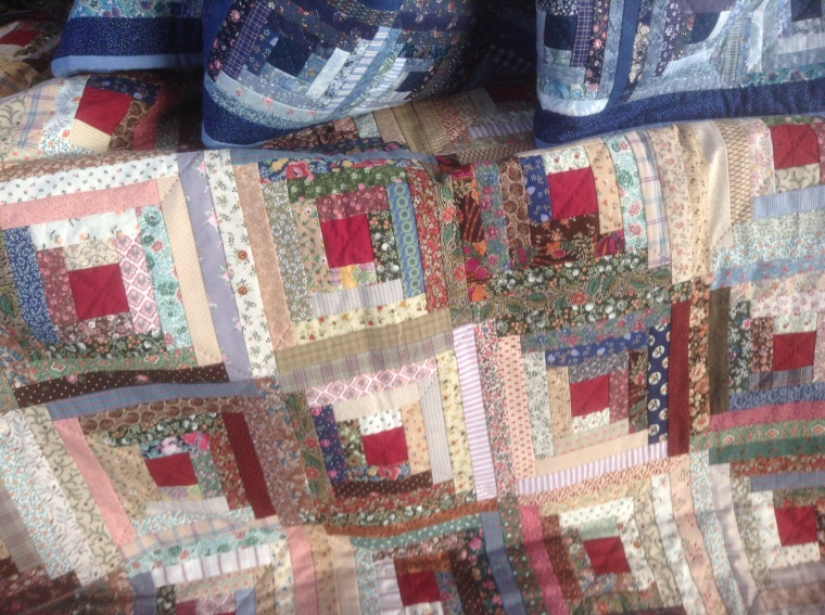2.  Log cabin quilt at a show and tell, at a quilt meeting this week.