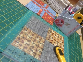 """Making a """"disappearing 9 patch"""" samples for a demo for a quilt meeting."""