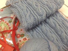 Knitted with Rowan - Cashsoft DK, Classic Cables Scarf, pattern from the Lions Brand.