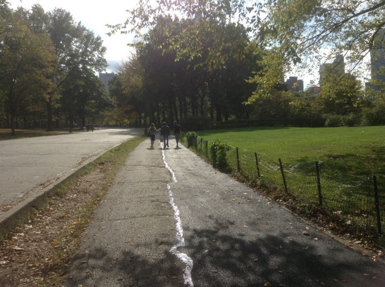 J (new daughter) and my youngest and middle son walking through Central Park. The older son that is engaged had to go to a meeting!