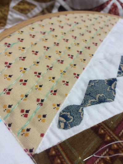 I have started hand quilting 'Dear Jane'.
